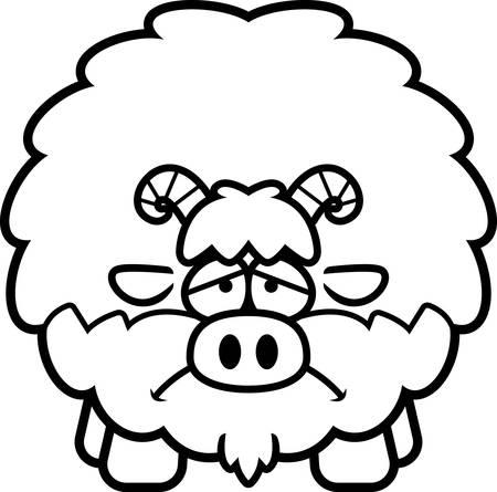 A cartoon illustration of a goat looking sad. Иллюстрация