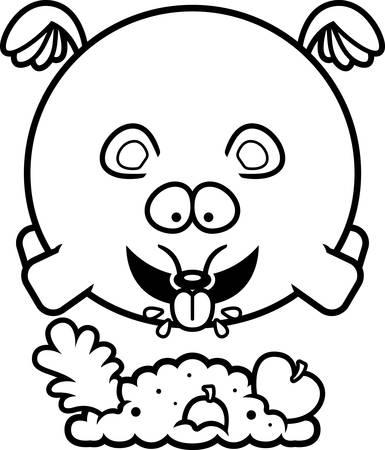 A cartoon illustration of a mouse eating. Ilustração