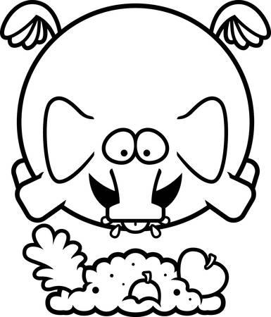 A cartoon illustration of an elephant eating.
