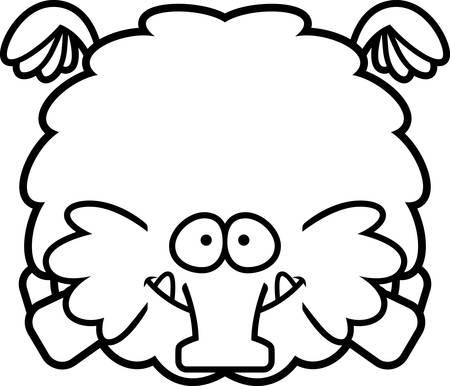 A cartoon illustration of a woolly mammoth flying.
