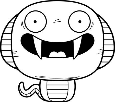 A cartoon illustration of a cobra smiling.