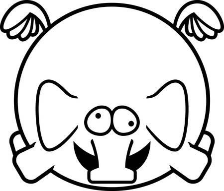 A cartoon illustration of an elephant looking crazy.