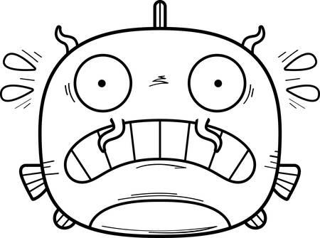 A cartoon illustration of a catfish looking scared. Illustration