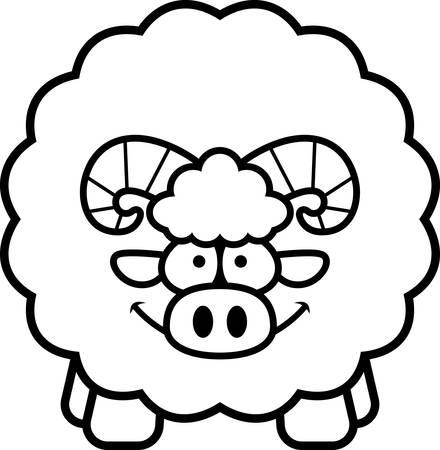 A cartoon illustration of a ram looking happy. Illustration