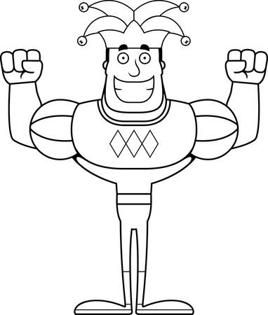 A cartoon jester smiling.