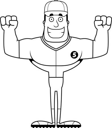 A cartoon baseball player smiling. Иллюстрация