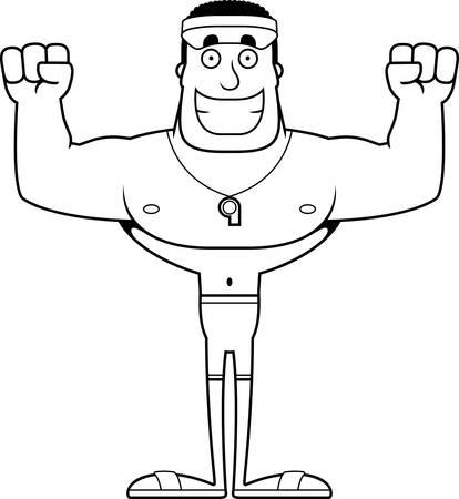 A cartoon lifeguard smiling.
