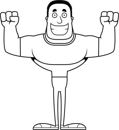A cartoon man smiling.