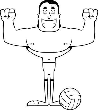 A cartoon beach volleyball player smiling.