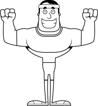 A cartoon fitness man smiling.