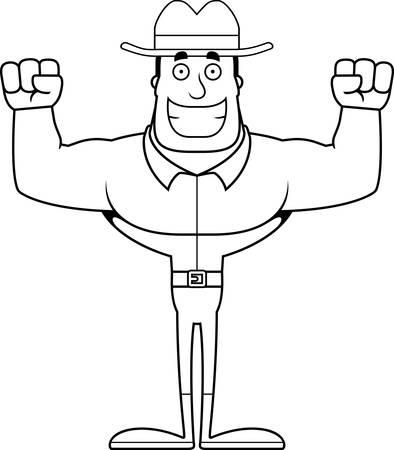 A cartoon cowboy smiling.