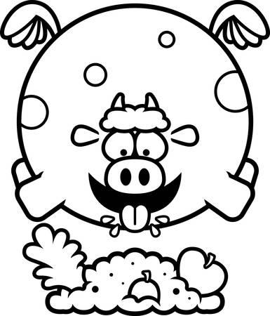 A cartoon illustration of a cow eating. Ilustração