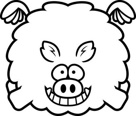 A cartoon illustration of a boar flying.