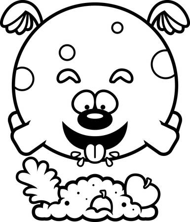 A cartoon illustration of a dog eating. Ilustração