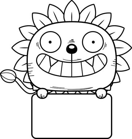 A cartoon illustration of a dandelion lion with a white sign. Stock Illustratie