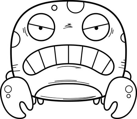 A cartoon illustration of a crab looking angry. 向量圖像