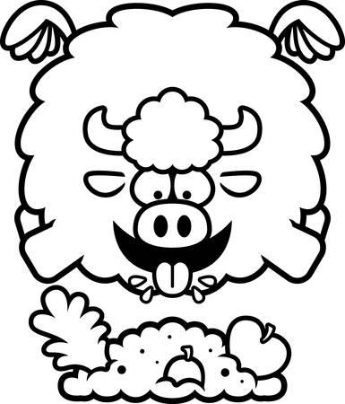 A cartoon illustration of a buffalo eating.