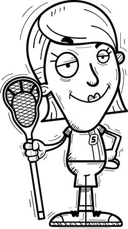 A cartoon illustration of a woman lacrosse player looking confident.