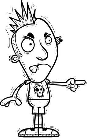 A cartoon illustration of a punk looking angry and pointing. Illustration