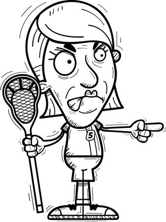 A cartoon illustration of a senior citizen woman lacrosse player looking angry and pointing. Illustration