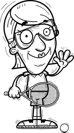 A cartoon illustration of a senior citizen woman racquetball player waving.