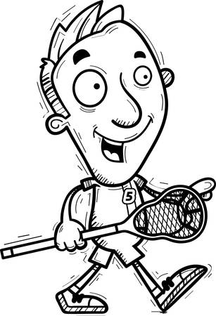 A cartoon illustration of a man lacrosse player walking. Ilustração