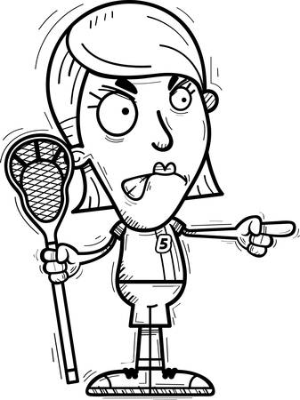A cartoon illustration of a woman lacrosse player looking angry and pointing.