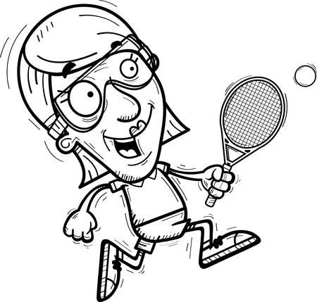 A cartoon illustration of a senior citizen woman racquetball player running.
