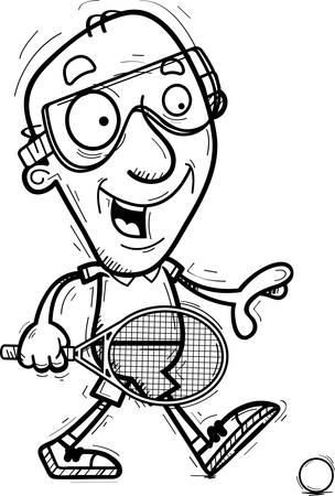 A cartoon illustration of a senior citizen man racquetball player walking.