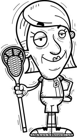 A cartoon illustration of a senior citizen woman lacrosse player looking confident.