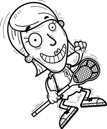 A cartoon illustration of a woman lacrosse player jumping.