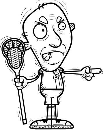 A cartoon illustration of a senior citizen man lacrosse player looking angry and pointing.