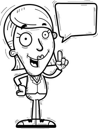 A cartoon illustration of a businesswoman talking. Vectores