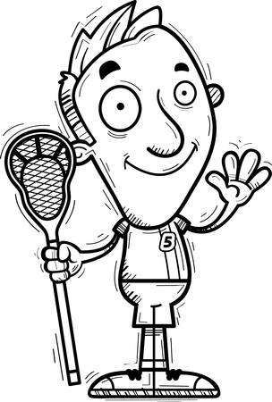 A cartoon illustration of a man lacrosse player waving.