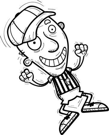A cartoon illustration of a senior citizen man referee jumping.