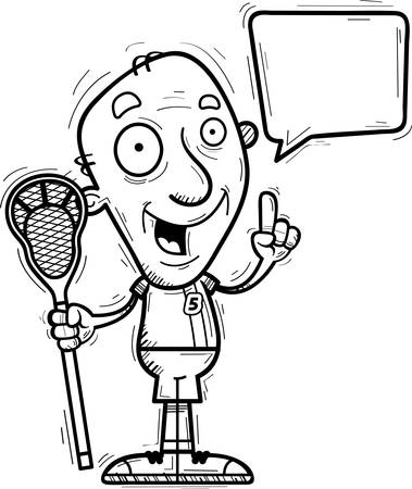 A cartoon illustration of a senior citizen man lacrosse player talking.