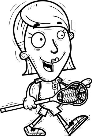 A cartoon illustration of a woman lacrosse player walking.