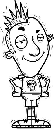 A cartoon illustration of a punk looking confident.