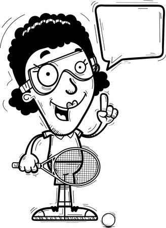 A cartoon illustration of a black woman racquetball player talking. Illustration