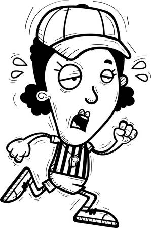 A cartoon illustration of a black woman referee running and looking exhausted.