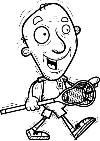 A cartoon illustration of a senior citizen man lacrosse player walking.