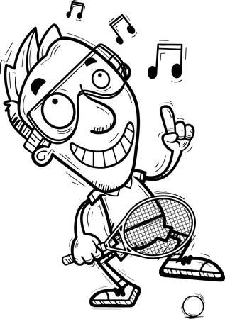 A cartoon illustration of a man racquetball player dancing.