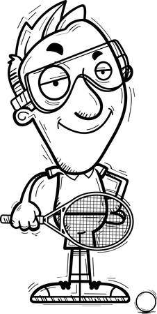 A cartoon illustration of a man racquetball player looking confident.