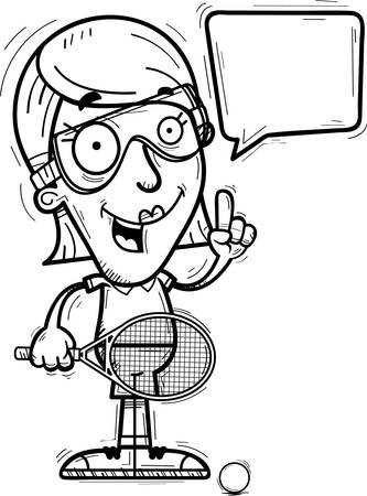 A cartoon illustration of a woman racquetball player talking.