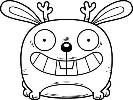 A cartoon jackalope happy and smiling.