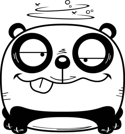 A cartoon illustration of a panda cub with a goofy expression.