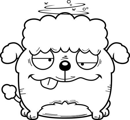 A cartoon illustration of a little poodle looking drunk.