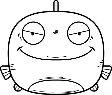 A cartoon illustration of an evil looking fish. 写真素材 - 102270913