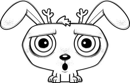 A cartoon illustration of a jackalope looking surprised. 向量圖像