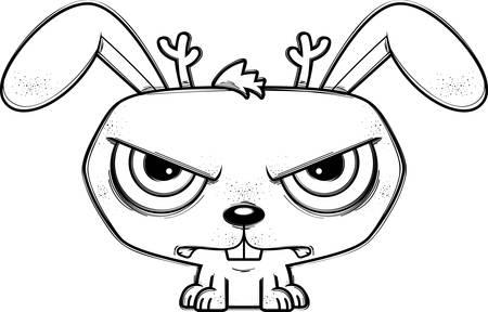 A cartoon illustration of a jackalope looking mad.